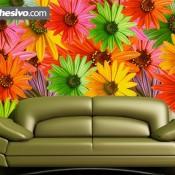 Una agradable pared decorada con flores