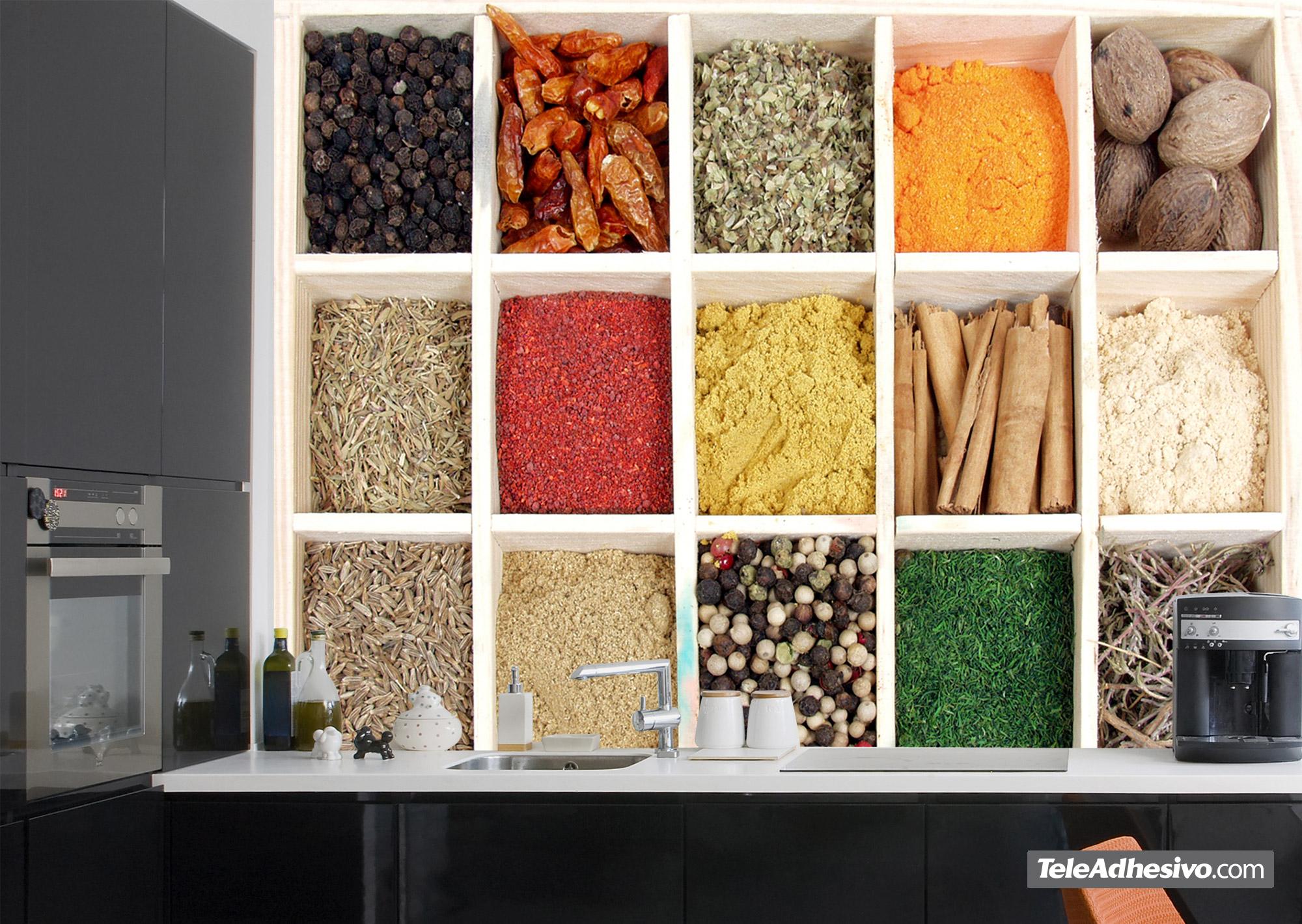 Un caj n de especias en tu cocina - Fotomurales cocina ...