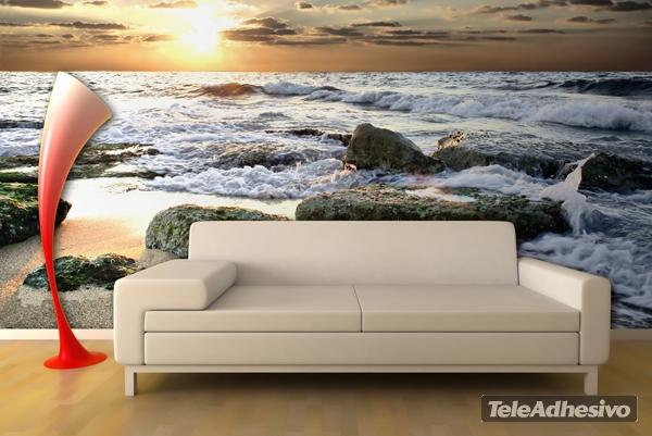 Fotomural decorativo de olas chocando en las rocas