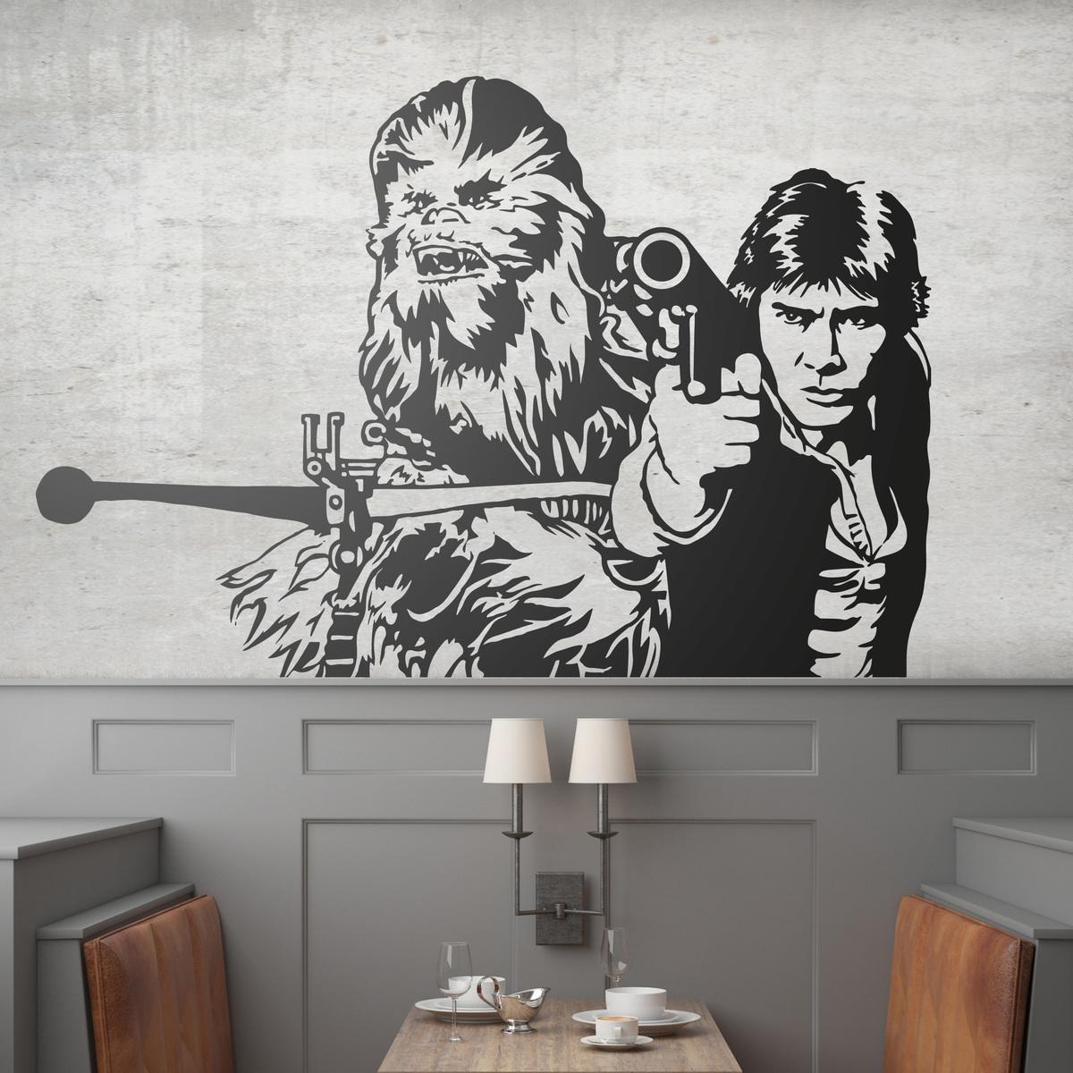 Novedad vinilo decorativo Chewbacca y Han Solo