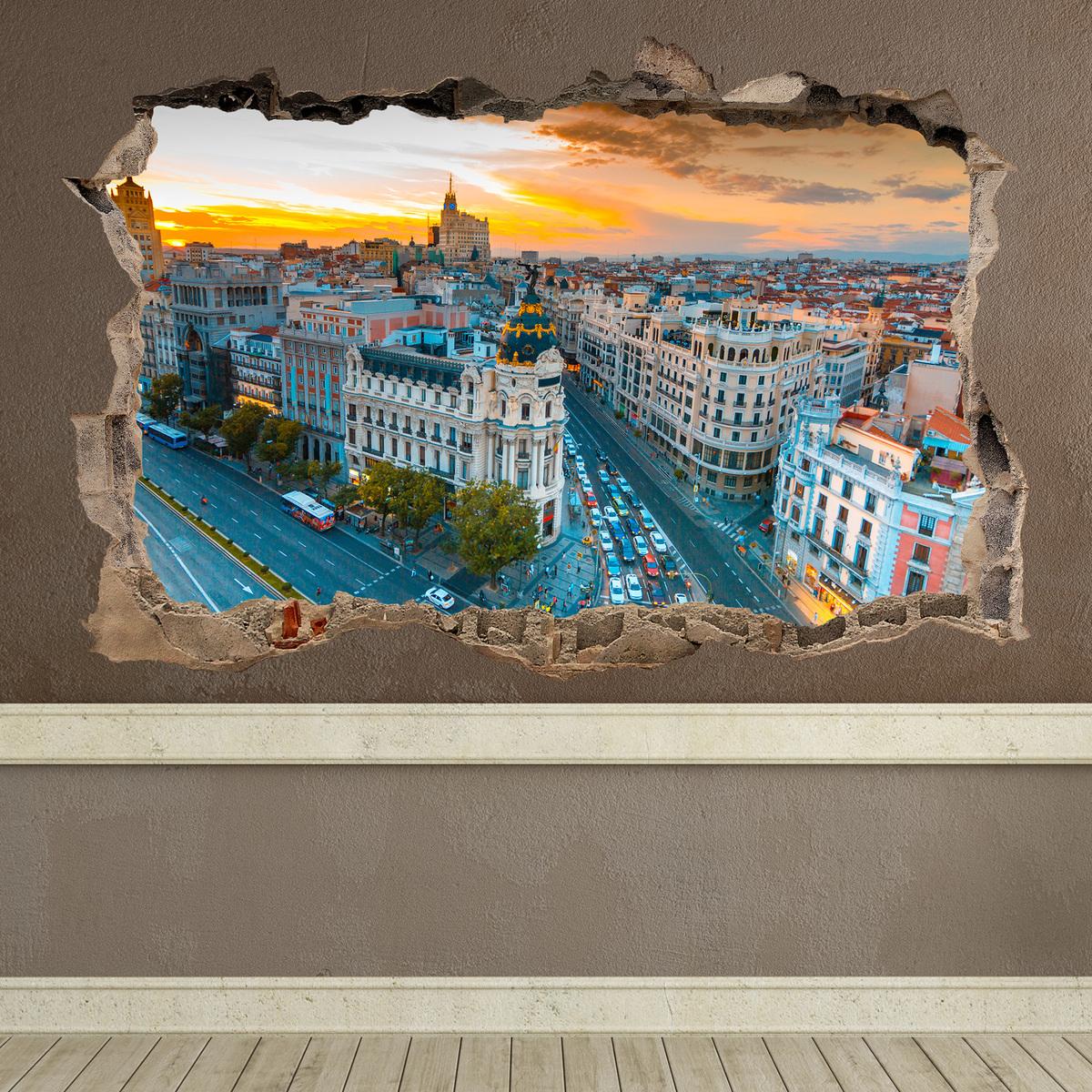 Novedad vinilo decorativo agujero Gran Vía de Madrid