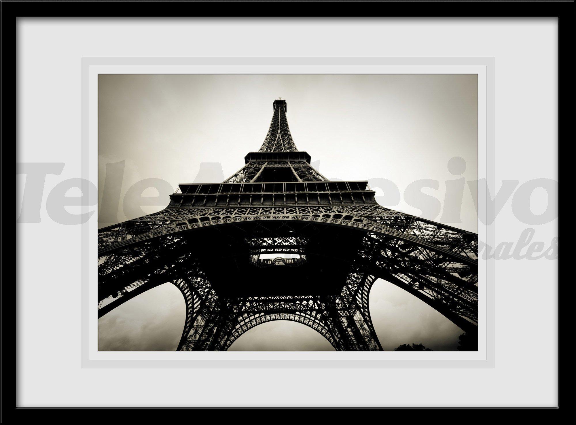 Vinilos decorativos cuadro de fotografía Torre Eiffel en blanco y negro